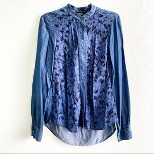 JONES NEW YORK button down 4 blouse lace chambray